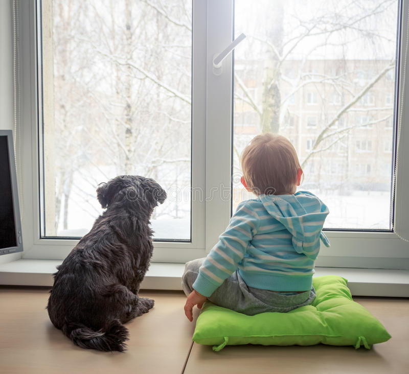 Bebé con el perro que mira a través de una ventana en invierno imágenes de archivo libres de regalías