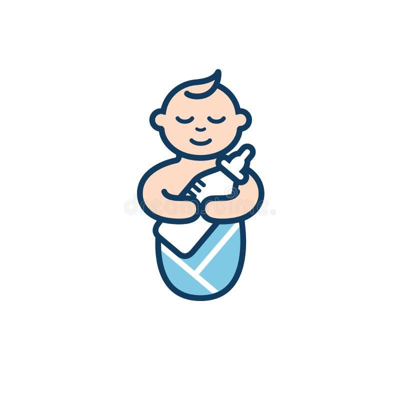 Bebé con la botella de leche en sus brazos Imagen geométrica del bebé puesto los pañales durmiente que abraza la botella de alime ilustración del vector