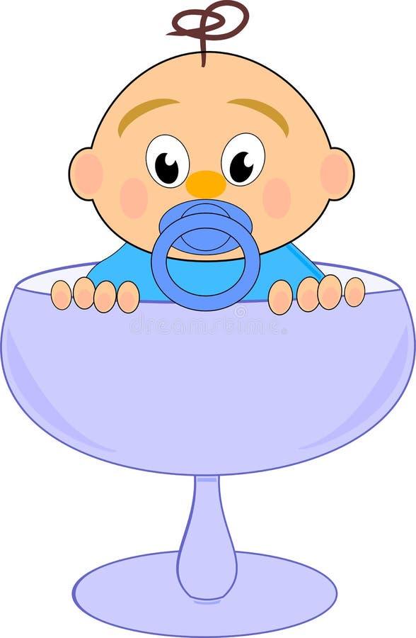 Bebé con la entrerrosca en vidrio azul stock de ilustración