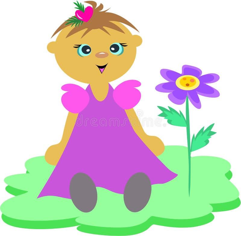 Bebé con la flor stock de ilustración