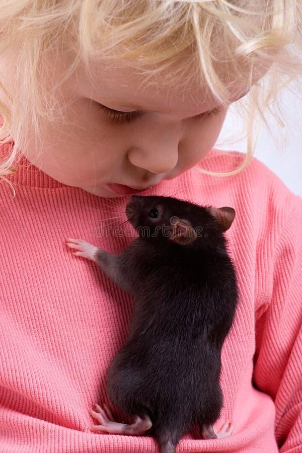 Bebé con la rata foto de archivo