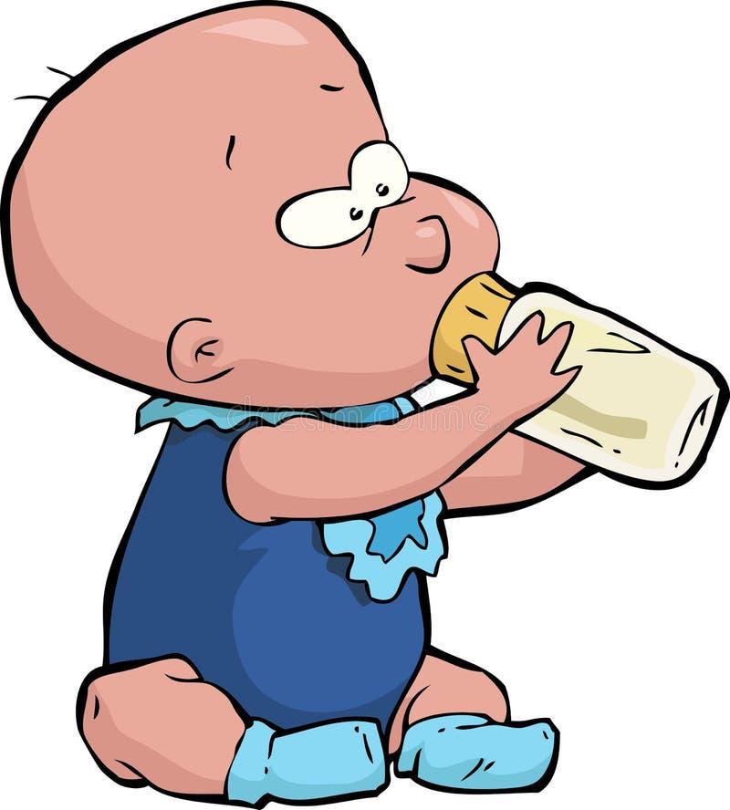 Bebé con una botella stock de ilustración
