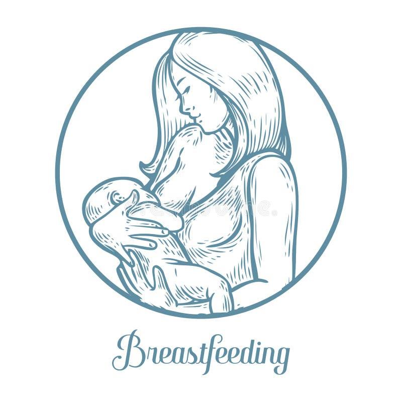 Bebé de amamantamiento de la mujer, madre que celebra al bebé recién nacido en los brazos que lo alimentan ilustración del vector
