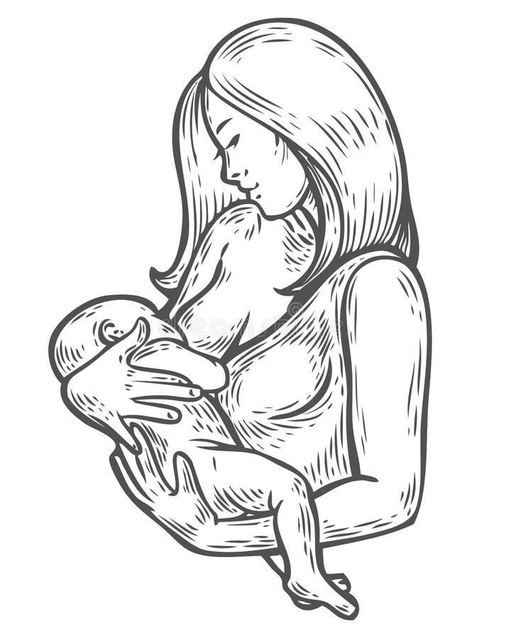 Bebé de amamantamiento de la mujer, madre que celebra al bebé recién nacido en los brazos que lo alimentan con stock de ilustración