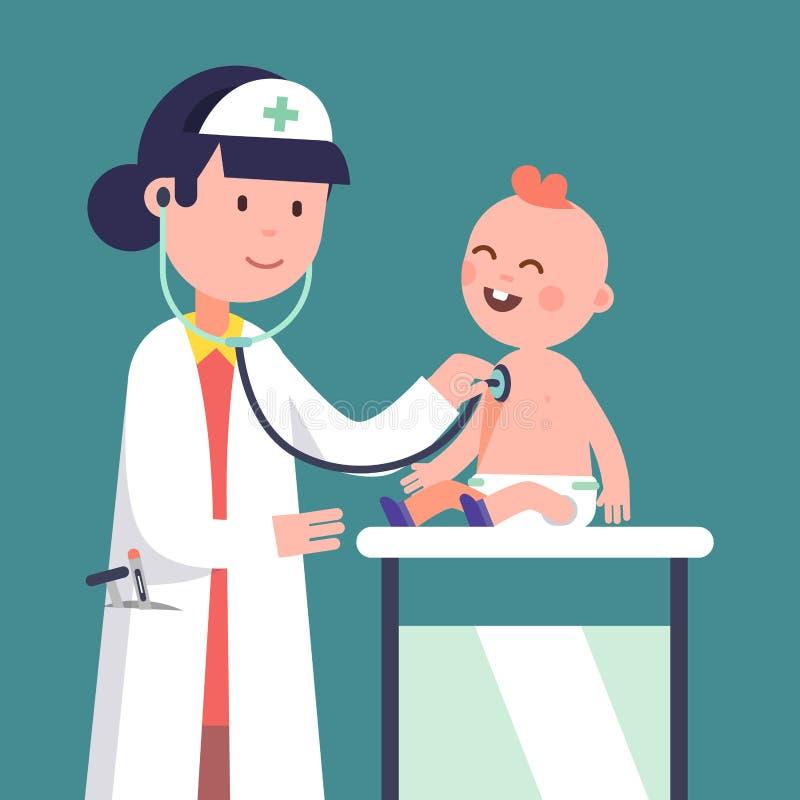 Bebé de examen de la mujer del doctor del pediatra ilustración del vector