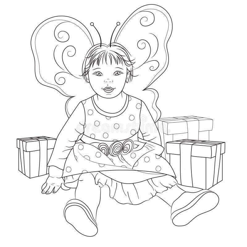 Bebé de hadas con los regalos para el libro de colorear ilustración del vector