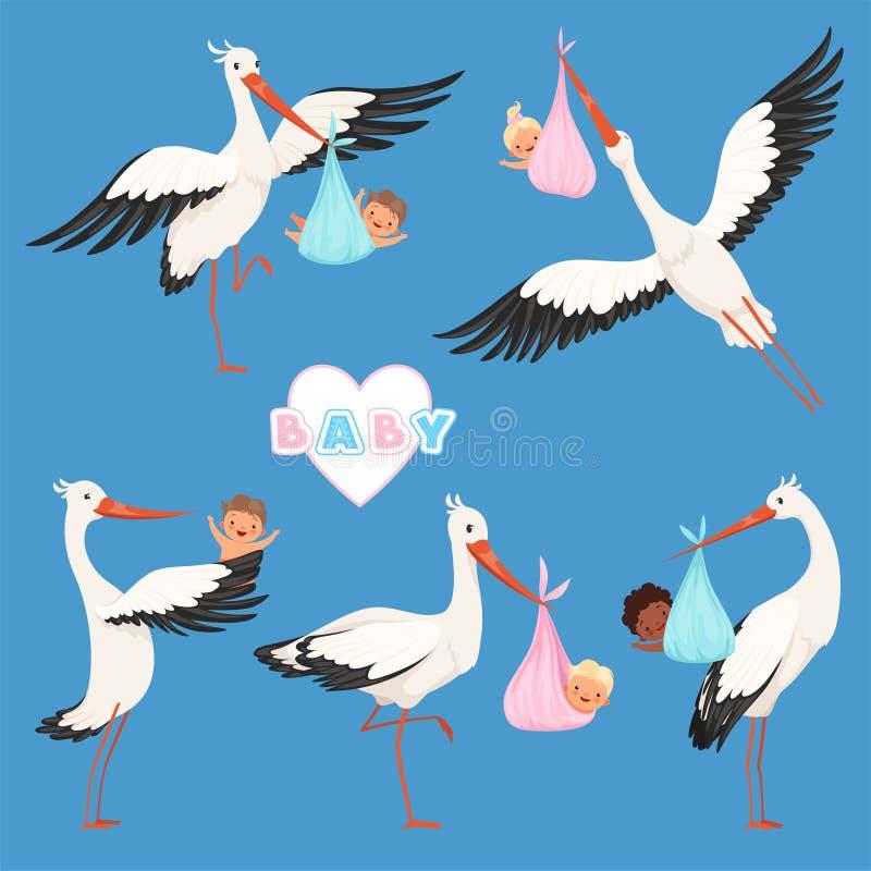 Bebé de la cigüeña del vuelo El vector lindo recién nacido de los pequeños niños de la entrega del pájaro lleva los caracteres de stock de ilustración