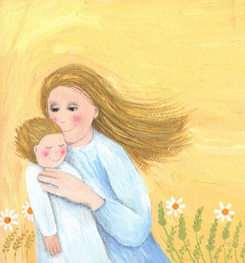 Bebé de la explotación agrícola de la madre stock de ilustración