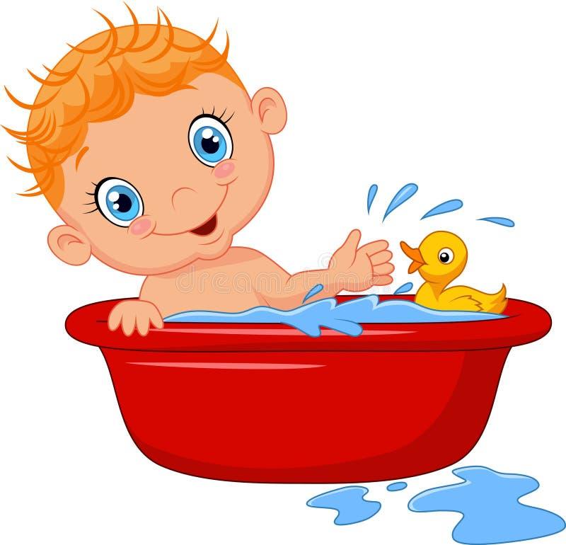 Bebé de la historieta en un baño que salpica el agua libre illustration