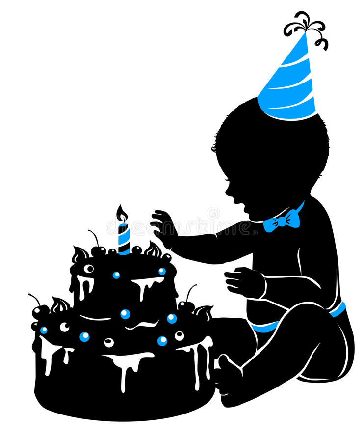 Bebé de la silueta con la torta de cumpleaños con la vela stock de ilustración