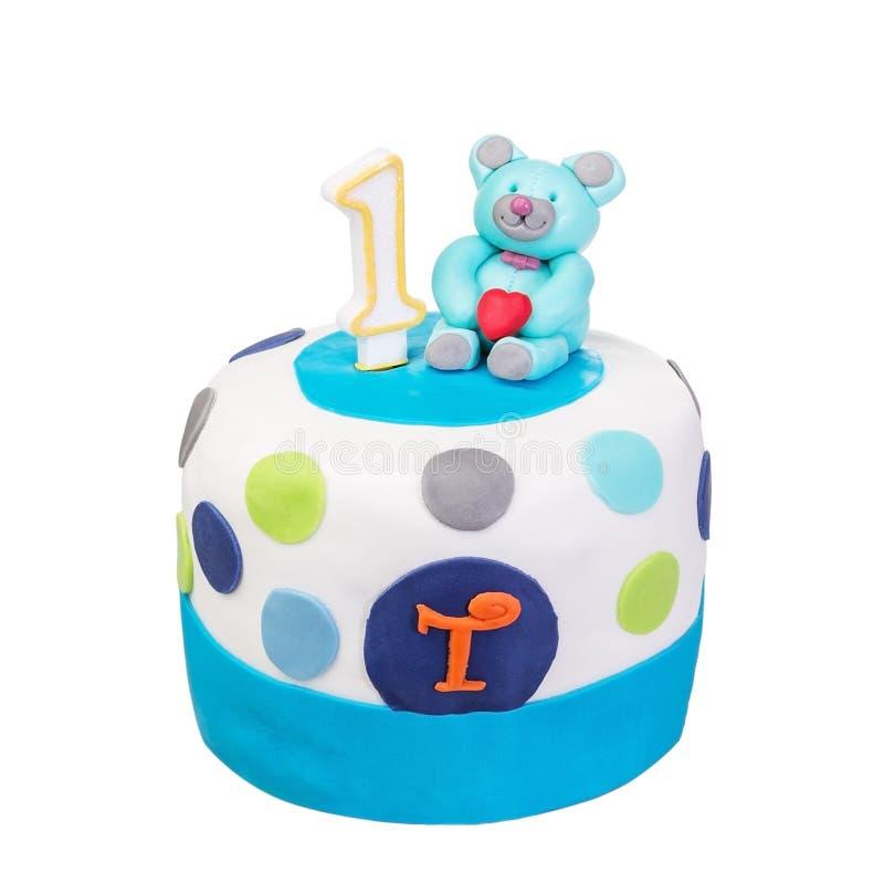 Bebé decorativo de la torta de cumpleaños imagen de archivo