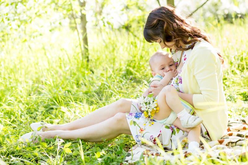Bebé del amamantamiento de la madre al aire libre fotografía de archivo libre de regalías