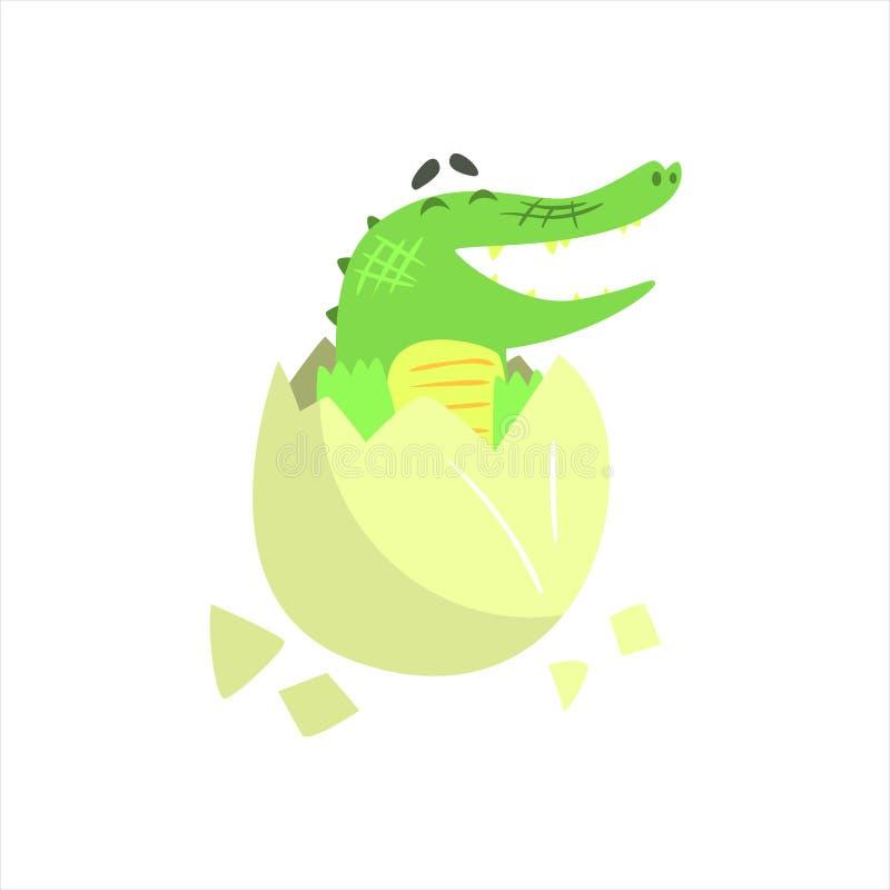 Bebé del cocodrilo que trama del huevo, carácter animal humanizado del reptil verde cada actividad del día ilustración del vector
