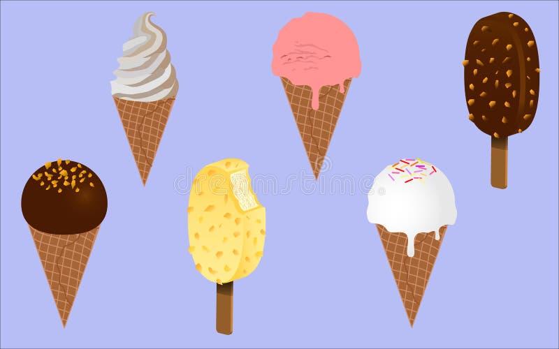 Bebé del hielo del hielo Conos de helado de la fresa, del chocolate, de la vainilla y del pistacho sobre el fondo blanco imágenes de archivo libres de regalías