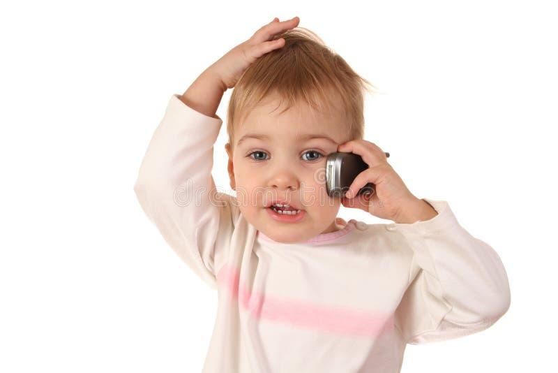 Bebé del problema con el teléfono imagen de archivo