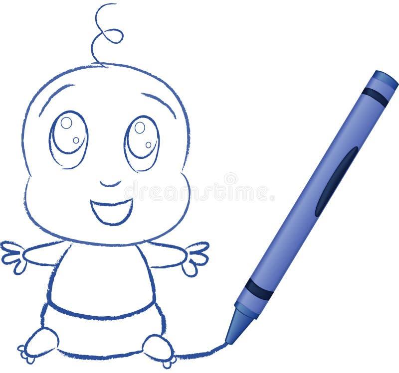 Bebé drenado por Crayon - ilustración del vector ilustración del vector