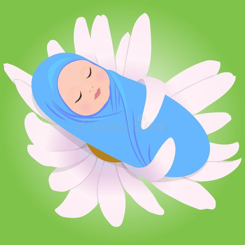Bebé durmiente en margarita stock de ilustración