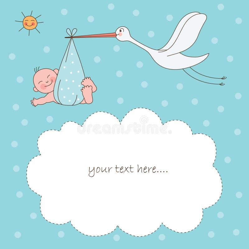Bebé e cegonha ilustração do vetor