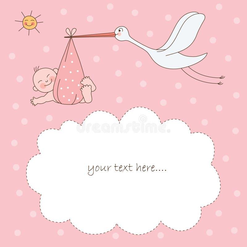 Bebé e cegonha ilustração stock