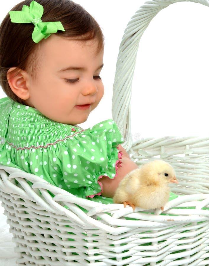 Bebé e galinha amarela fotos de stock