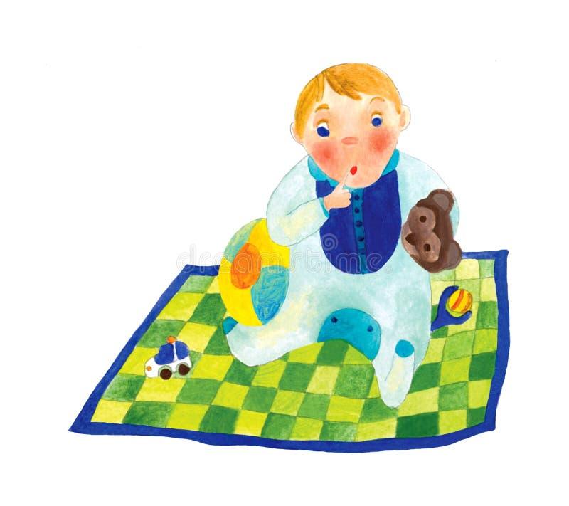 Bebé em um cobertor ilustração stock