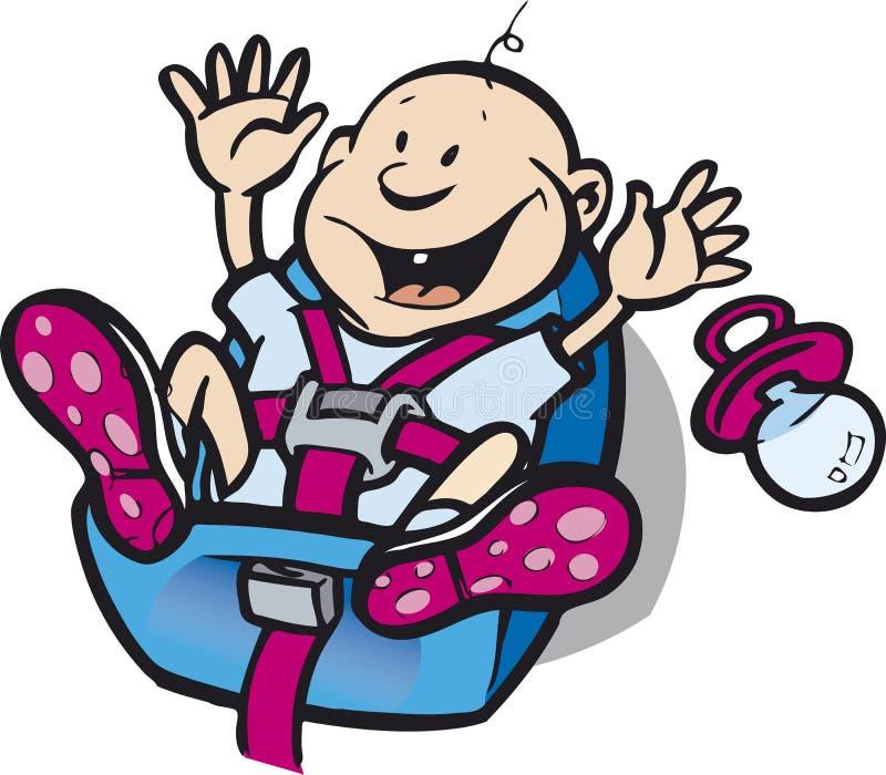 Bebé en asiento de coche de seguridad ilustración del vector