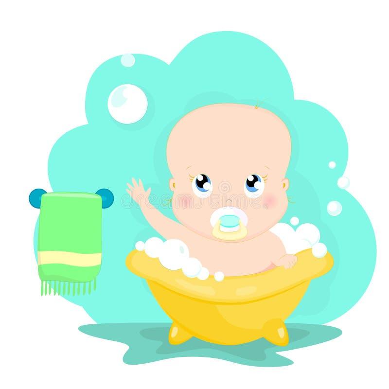 Bebé en baño ilustración del vector