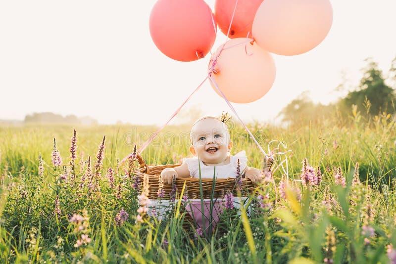 Bebé en cesta de mimbre con los globos en la naturaleza en el verano fotografía de archivo libre de regalías