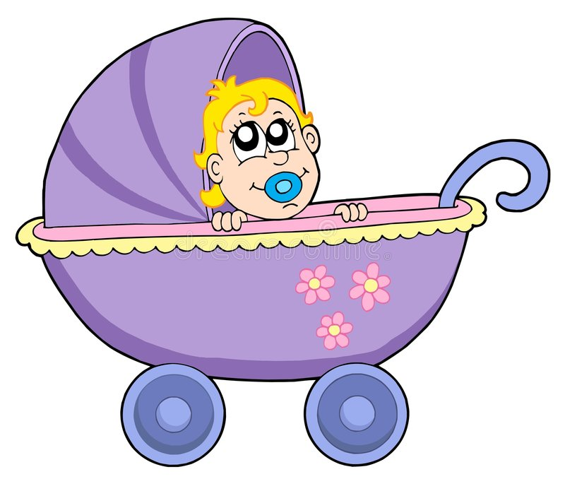 Bebé en cochecillo ilustración del vector