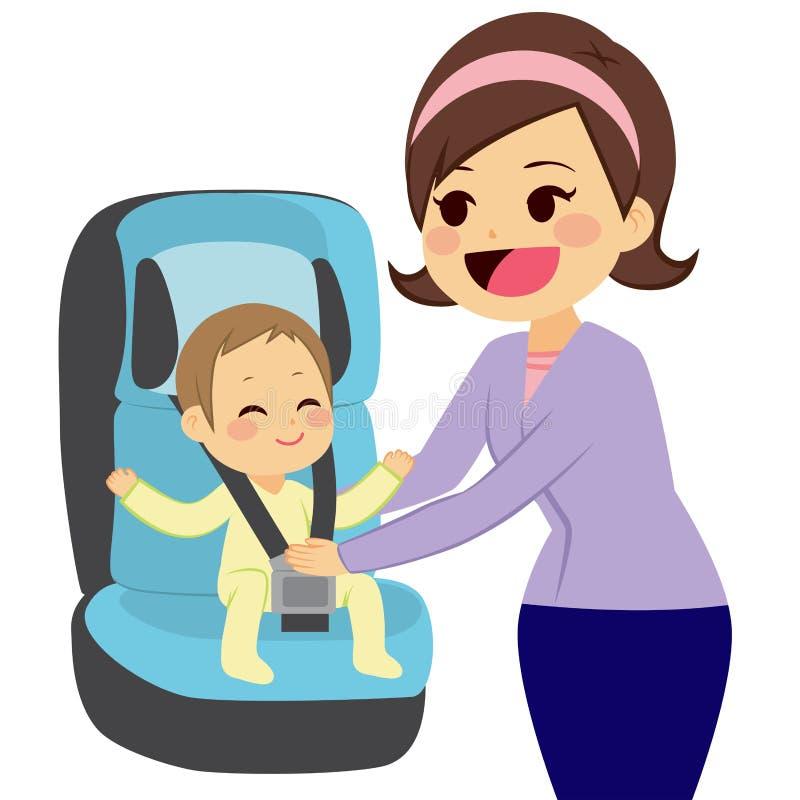 Bebé en el asiento de carro ilustración del vector