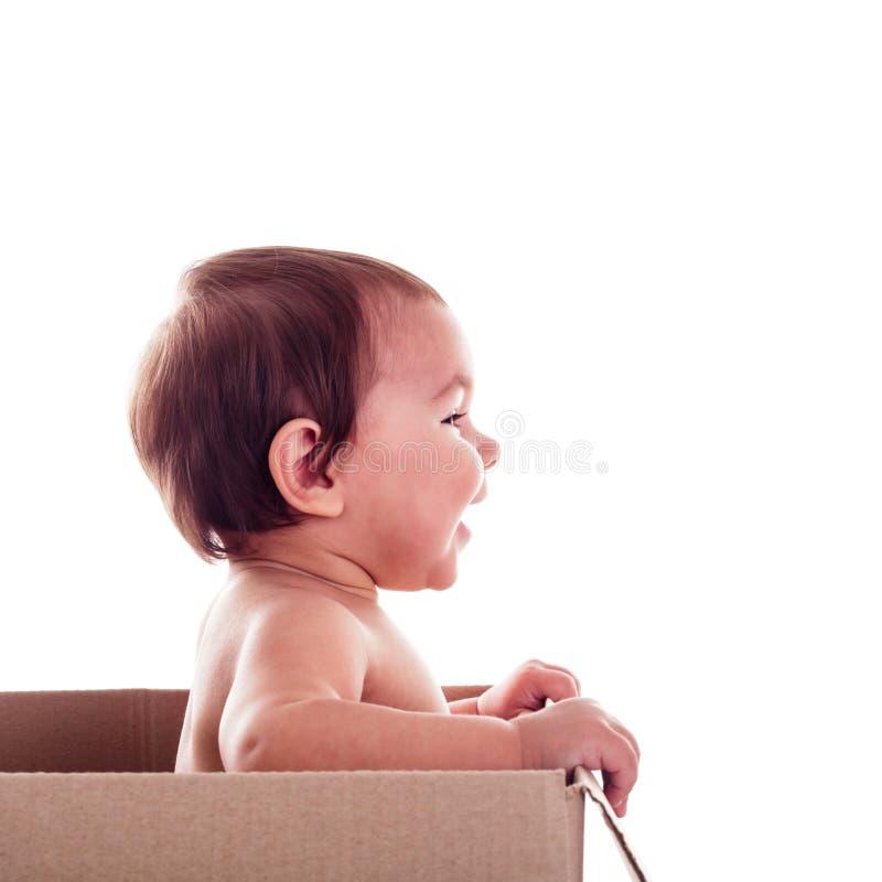 Bebé en el rectángulo fotos de archivo