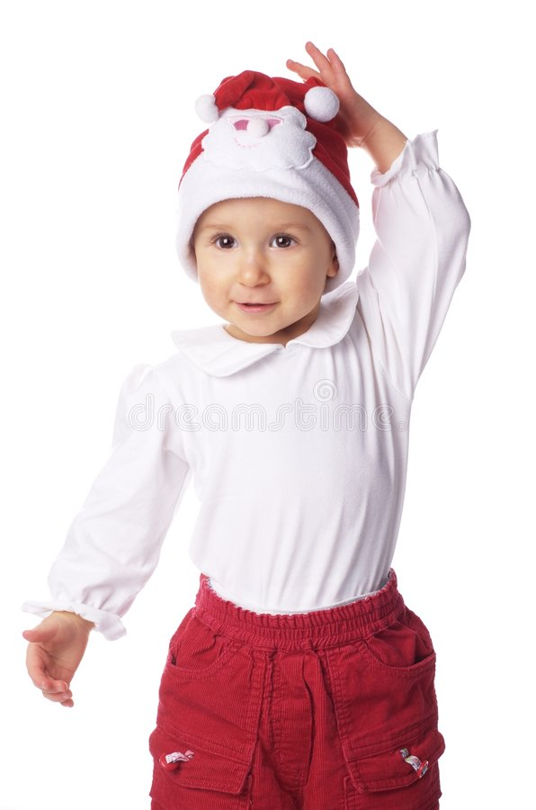Download Bebé En El Sombrero Grande De Papá Noel Imagen de archivo - Imagen de navidad, blanco: 7282989