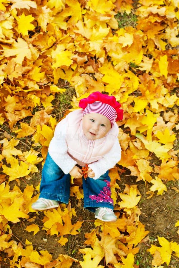 Bebé en hojas de otoño fotografía de archivo