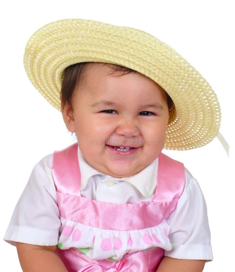 Bebé en la alineada de Pascua imagen de archivo