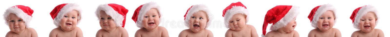 Bebé en un sombrero de la Navidad. Collage fotografía de archivo
