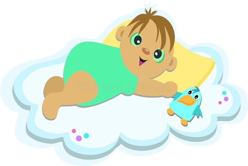 Bebé en una nube ilustración del vector