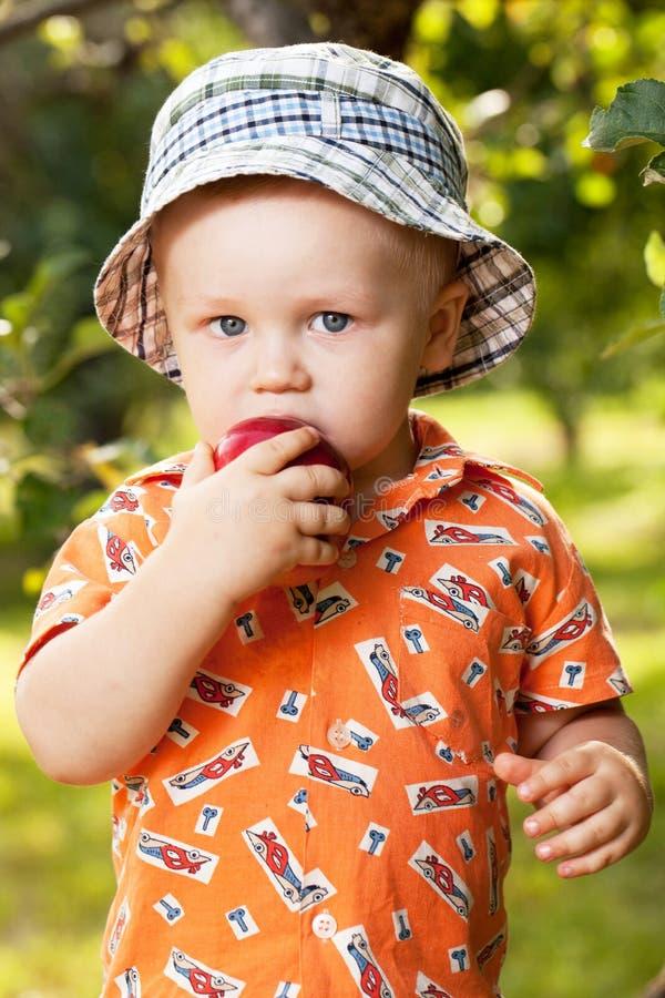 Bebé encantador que come una manzana roja foto de archivo libre de regalías