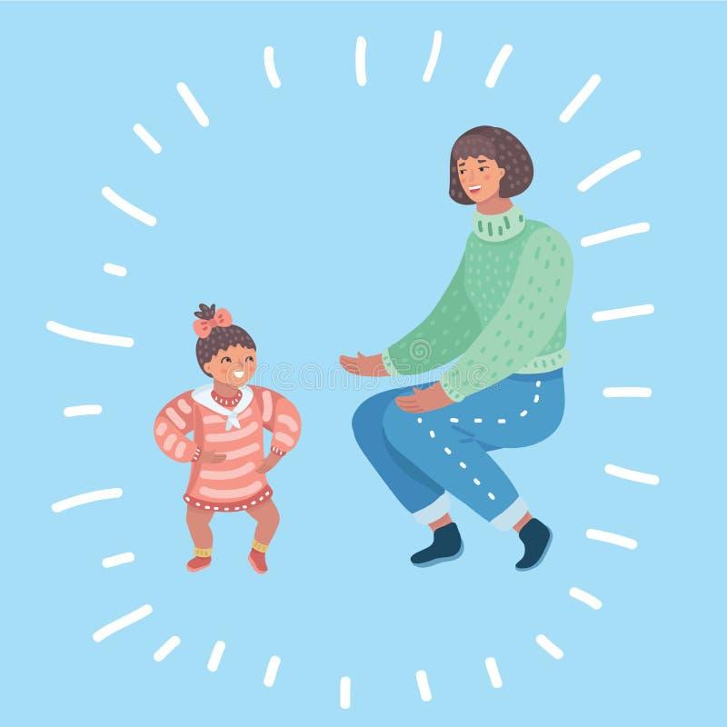 Bebé feliz divertido lindo que hace sus primeros pasos stock de ilustración