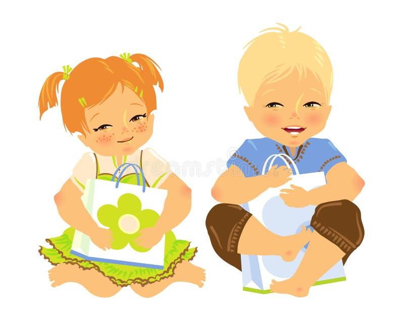 Bebé feliz dos con un bolso del regalo en manos ilustración del vector