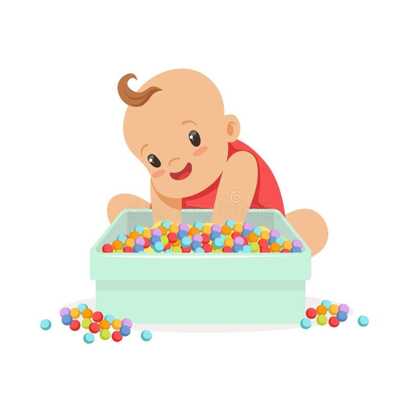 Bebé feliz lindo que se sienta y que juega con la caja llena de pequeñas bolas multicoloras, ejemplo del vector del personaje de  ilustración del vector