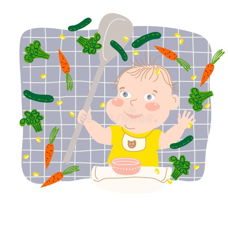 Bebé feliz que juega con la comida en la tabla de alimentación imagenes de archivo