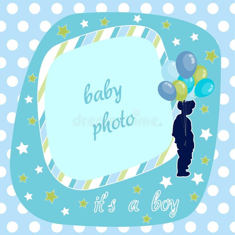 Bebé, frame azul da foto ilustração royalty free