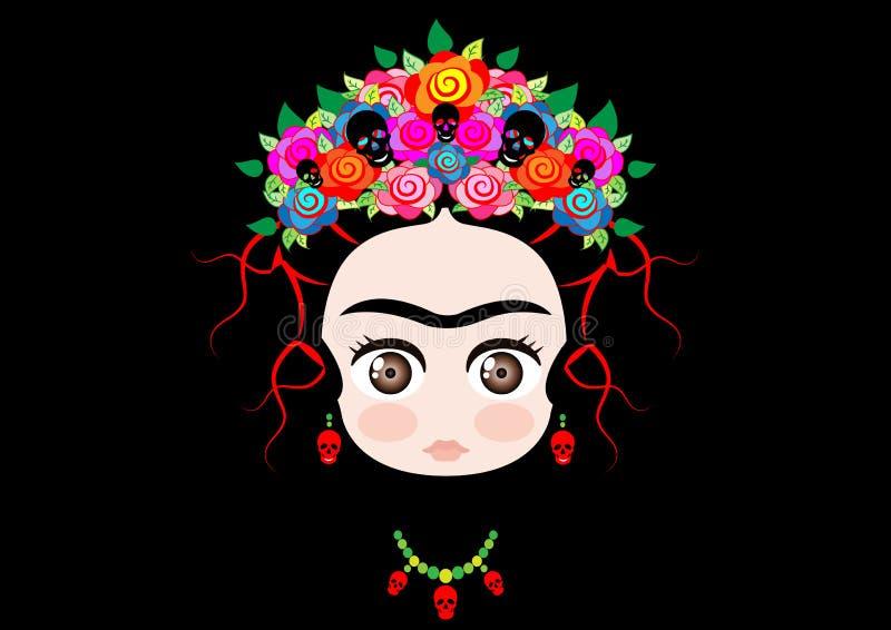 Bebé Frida Kahlo de Emoji con la corona de flores coloridas, aislada en negro stock de ilustración