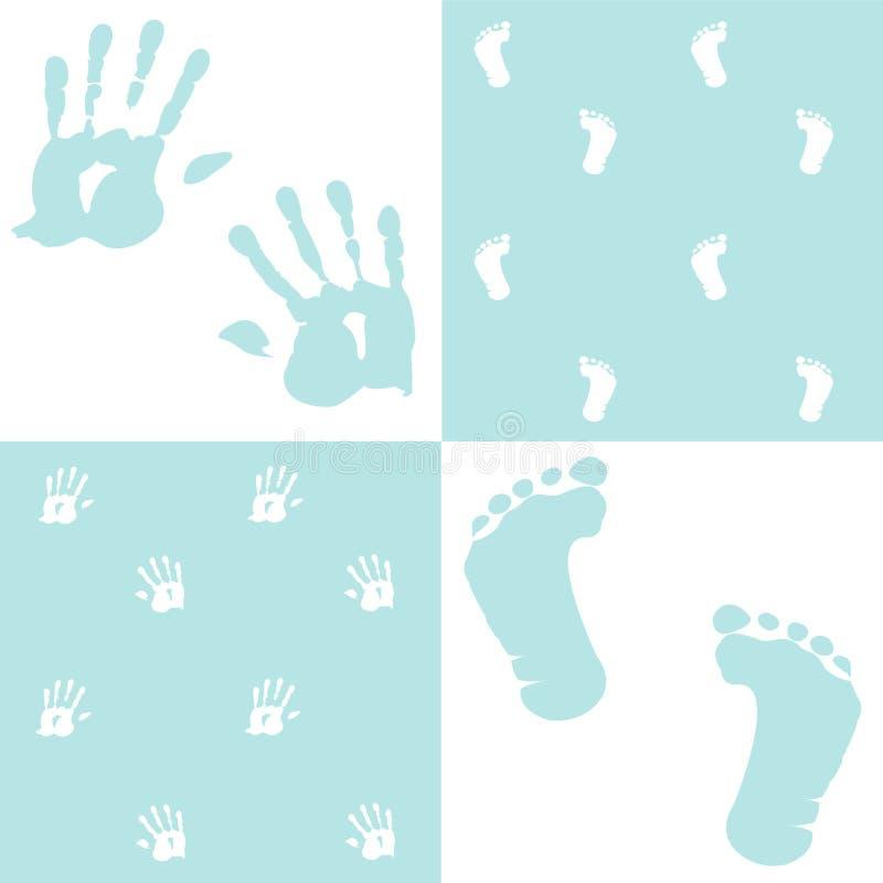 Bebé, handprint y huella, libre illustration