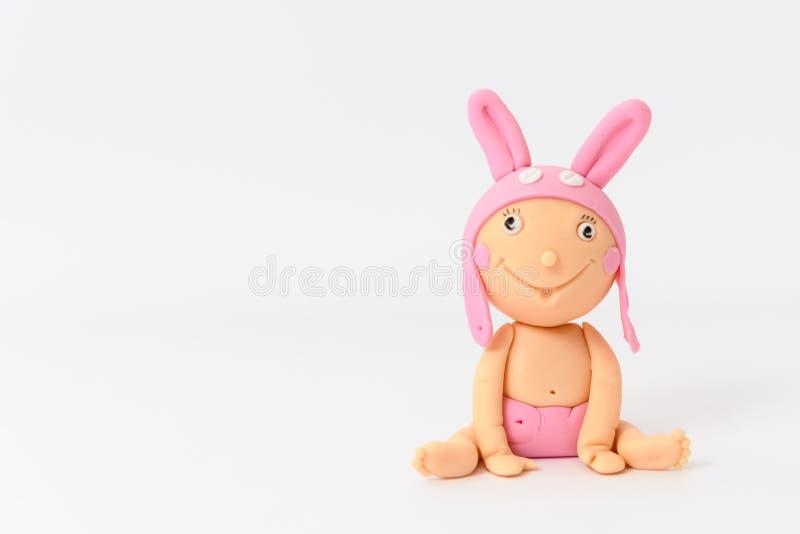 Bebé hecho en casa lindo del sugarpaste con el sombrero animal fotografía de archivo