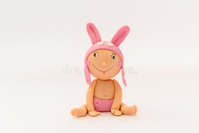 Bebé hecho en casa lindo del sugarpaste con el sombrero animal imagen de archivo
