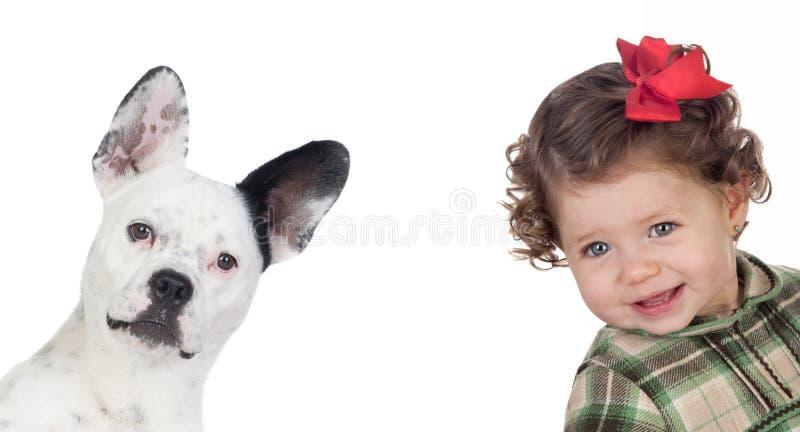 Bebé hermoso y perro divertido foto de archivo