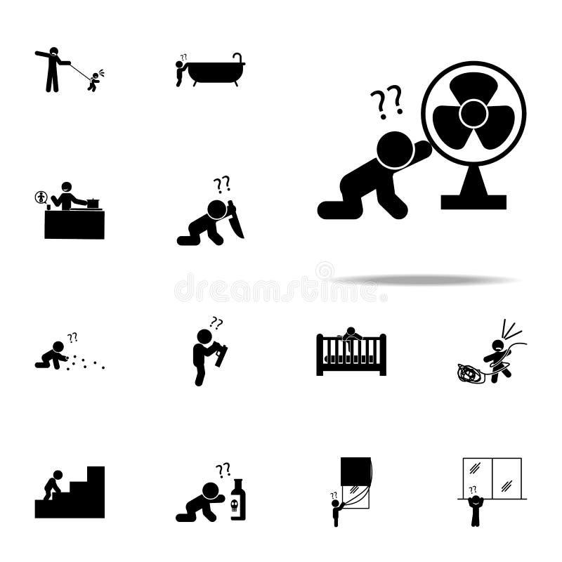bebé, icono del peligro Sistema universal de los iconos del bebé para el web y el móvil ilustración del vector