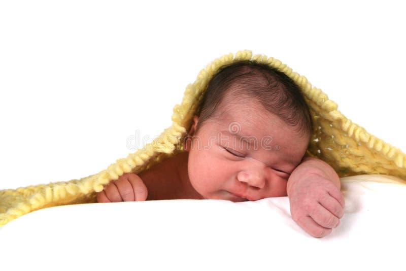 Bebé infantil na parte traseira do branco foto de stock royalty free