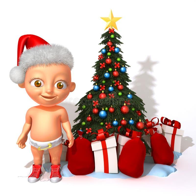 Bebé Jake Santa Claus con el ejemplo del árbol de navidad 3d libre illustration